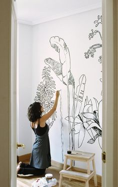 Tropical line drawing mural