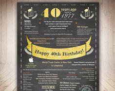 Printable Birthday Facts ~ 40th birthday gift 1977 poster australia 40 years flashback instant