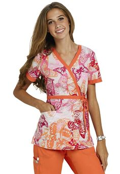 Koi Kathryn Butterfly Melody mock wrap print scrub top. - Scrubs and Beyond. Adorable for my daughter