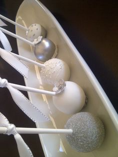 Silver and white themed cake pops #silver #silver #white #cakepops