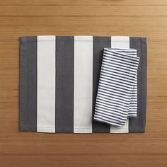 Love this pairing!  Olin Graphite Placemat and Liam Grey Stripe Napkin | Crate and Barrel #bridalregistry #tabletop