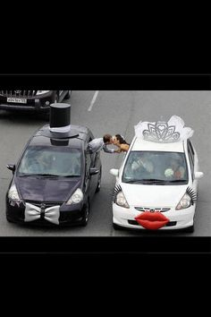How adorable? Wedding cars