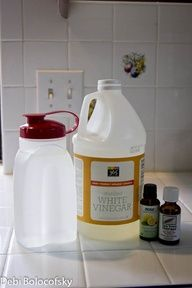Homemade Swiffer Floor Cleaner Spray... 1 cup vinegar   2 oz Dr Bonners Baby Mild Castille Soap   3 cups water   10 drops tea tree oil   10 drops lemon essential oil     Mix all ingredients together in a spray bottle and spray on floor and use your mop or swiffer to clean, rinse the mop and move on to the next area. For my swiffer wet jet kb