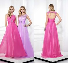 Discount Backless Prom Dress 2015 New Arrival Sheer Neck Sleeveless Crystal Beaded Chiffon Pink Lilac Long Homecoming Dress Sweet 16 Party Gowns 2014 Online with $93.21/Piece   DHgate