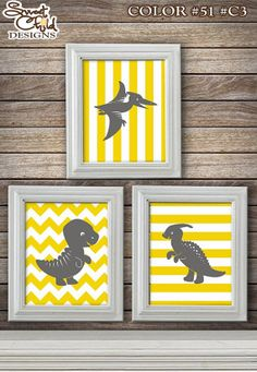 Customizable Dinosaur Art Baby Nursery Art by SweetChildDesignsFL, $24.95  This reminds me of the Land Before Time baby dinosaurs that I know Chris and I both loved to watch as kids :)