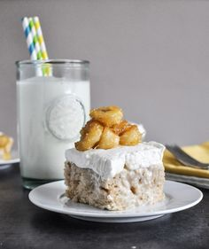 This irresistible dessert recipe for Banana Bread Tres Leches Cake with Caramelized Bananas by Howard Sweet Eats truly takes the literally. With cinnamon, bananas, whipped cream, and a whole lot of yum, this heavenly dessert is a Just Desserts, Delicious Desserts, Yummy Food, Dessert Healthy, Fancy Desserts, Health Desserts, Sweet Recipes, Cake Recipes, Dessert Recipes