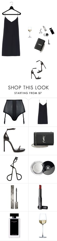 """""""black dress"""" by djulia-tarasova ❤ liked on Polyvore featuring Coco de Mer, Raey, Yves Saint Laurent, Topshop, Chanel, Burberry, NARS Cosmetics and Narciso Rodriguez"""