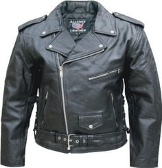 Men's Black Genuine Cowhide Leather Motorcycle Bike