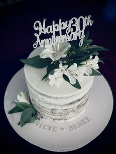 30th Anniversary Cake, Happy 30th, No Bake Cake, Cake Decorating, Parents, Birthday Cake, Baking, Desserts, Food