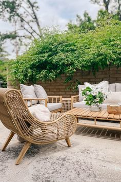 A statement lounge chair. The synthetic rattan and Boho styling of the Calova makes sure that even if you're just relaxing, you're relaxing in style. Photo by Ponderosa and Plaid. #BohoPatio #BohoDecor #PatioDesign Outdoor Chairs, Outdoor Furniture, Outdoor Decor, Rattan, Wicker, High Quality Furniture, Lounge Chairs, Patio Design, Garden Styles