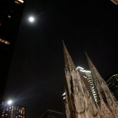 Full moon over St. Patrick's Cathedral. Christmas 2010 NYC