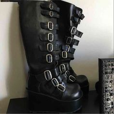 cdd2b2041d8 Shoes - Demonia knee high platform buckle boots NEW Goth Boots