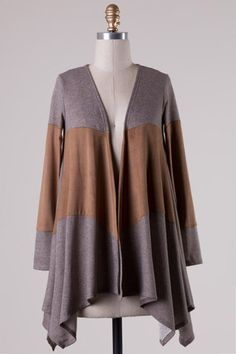 Suede Inset Open Cardigan (Taupe) - Ashe Couture, Inc