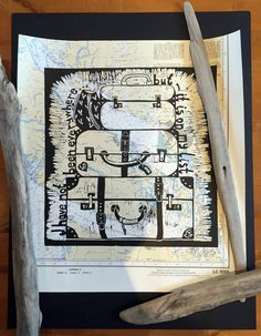 linocut travelling suitcases map sailors by linocutheaven on Etsy