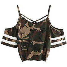 263478fbba Weant Damen Sommer T-Shirts Riemen Rundhals Tie up Kurzarm Crop Top Saum  Streifen Shirt Junges Mädchen Oberteil Bluse #mädchennamen #mädchenwg ...