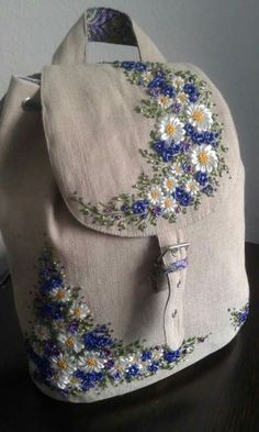 would love this made of denim... Ribbon Work, Brazilian Embroidery, Cross Stitch Embroidery, Embroidery Bags, Ribbon Embroidery Tutorial, Silk Ribbon Embroidery, Hand Embroidery Patterns, Machine Embroidery, Flower Embroidery