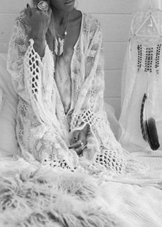 BLACK AND WHITE BOHO. bohemian white shabby chic feather fashion interiors.