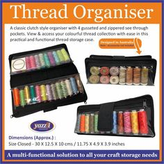 Yazzii Thread Organiser launching soon in the International quilt market and festival! Thread Organization, Thread Storage, Purse Organization, Cosmetic Storage, Makeup Storage, Notes Design, Thread Spools, Quilted Bag, Sewing Notions