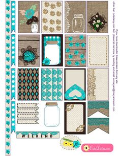 Free Printable Rustic Stickers for Happy Planner