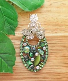 Shades of green crystal pendant with Sterling silver   P235 by FlameFlyCreations for $19.95