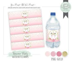 Unicorn Birthday Party Water Bottle Drink Wraps Printable PDF files- Instant Download. Pink and glitter gold