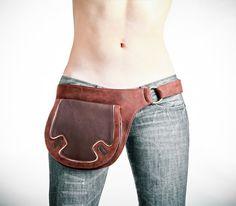 Brown leather bag hip belt belt bag utility belt by Shovavaleather, $119.00  perfect for dog walking??