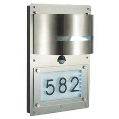 Design Edelstahl Hausnummernleuchte Wandleuchte Hausnummer Beleuchtet mit Bewegungsmelder