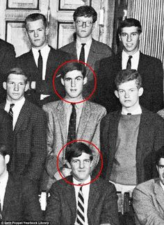 Robert Mueller & John Kerry back in their 1962 senior class photo.I'm sure they never reminisced about the good ole days in prep school. The People's Eyebrow, Prep School, High School, Korean President, Ivy League Style, Brown Knee High Boots, Brown Boots, Timberland Style, Timberland Fashion