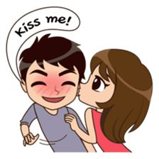 Cute, funny, lovely couple sticker for those who in love Love Cartoon Couple, Cute Couple Comics, Chibi Couple, Cute Love Cartoons, Couples Quotes Love, Cute Couples, Cartoon Pics, Cute Cartoon, Cute Babies Photography