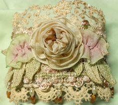 Cuff Bracelet Roses ribbonwork Marie ♥ by lambsandivydesigns