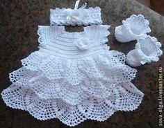 "Sweet Crocheted Baby Dress ""Afbeeldingsresultaat voor free crochet patterns for baby bolero"", ""Vestido para as migalhas - Plate. Baby Girl Crochet, Crochet Baby Clothes, Crochet For Kids, Crochet Baby Dress Pattern, Baby Dress Patterns, Crochet Patterns, Knitting Patterns, Baby Bolero, Booties Crochet"