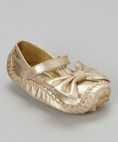 Take a look at this Gold Metallic Bow Mary Jane by Amoreco on #zulily today!