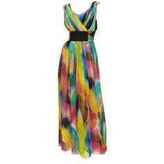 Preowned Dolce And Gabanna Silk Tye-dye Gown (€1.615) ❤ liked on Polyvore featuring dresses, gowns, gown, multiple, tie dye dress, empire waist evening dresses, silk dress, empire waist dresses and silk evening dresses