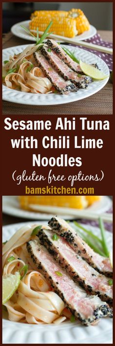 Ahi Tuna with Chili Lime Noodles/ Toasted Sesame crusted PAN-SEARED ...