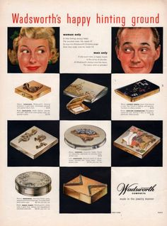 1952 Wadsworth Compacts print ad Happy Hinting by catchingcanaries, $9.00