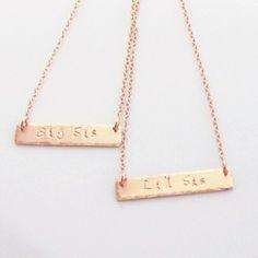Sisters Necklace Set Rose Gold Bar