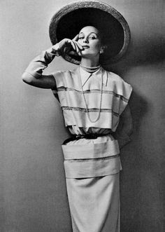 Model in white silk shantung dress cinched by black leather belt by Jeanne Lafaurie, photo by Pottier, 1950 Black Leather Belt, White Silk, Old Photos, Fashion Photo, Classic, Model, Vintage Hats, Vixen, Dresses