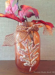 stenciled dimensional leaf mason jars, crafts, home decor, mason jars, seasonal holiday decor
