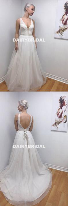 Lace Top Cheap Long Wedding Dress, A-Line Organza Backless Wedding Dress, D1056 #wedding