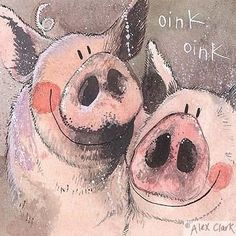Fun, colourful and full of character, Alex Clark art cards, a beautiful choice for all ages - Fine art Blank Greeting Cards at The Blank Card Company. This Little Piggy, Little Pigs, Farm Animals, Cute Animals, Pig Drawing, Clark Art, Pig Art, Mini Pigs, Cute Piggies
