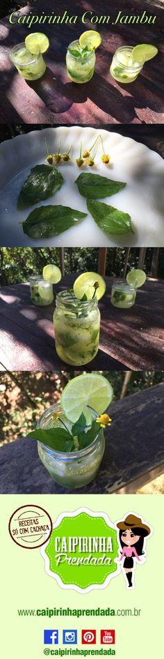 Caipirinha com Jambu  1/2 limão tahiti 2 colhereres (sobremesa) de açúcar refinado  6 a 8 florzinhas de jambu e algumas folhas Gelo à vontade