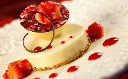 White Chocolate Cheesecake with Vanilla Mousseline and Strawberry Preserves
