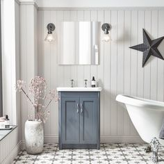 Shop and Save in our SALE: 20% OFF Bathrooms + Tiles until 30th June with Super Specials up to 30% OFF! Freestanding Vanity Unit, Bathroom Vanity Units, Rustic Bathroom Vanities, Bathroom Ideas, Loft Bathroom, Bathroom Trends, Family Bathroom, Shower Ideas, Lake House Bathroom