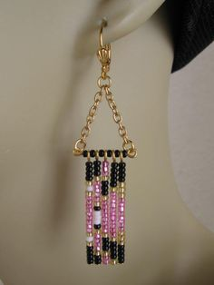 Seed Bead Chain Earrings - Abstract Modern Native American Style - Pink/Black. $16.00, via Etsy.