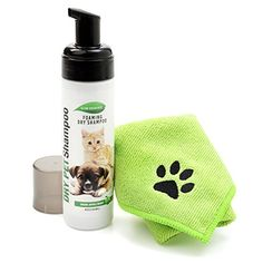 All Natural, Waterless, No Rinse, Dry Foaming Shampoo For Dogs, Cats, Ferrets And Rabbits.  Easily Clean All Coat Types While Removing Offensive Odors.  Comes With A Free Microfiber Pet Towel. ** Details can be found by clicking on the affiliate link Amazon.com.