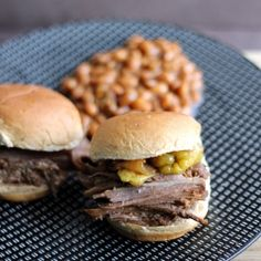 Crock pot brisket sliders: no hassle, easy, and makes your house smell wonderful.