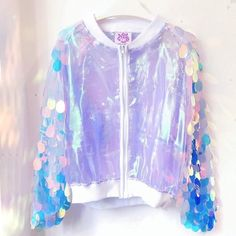 ▲▲▲▲▲▲▲▲Sequin sleeve Bomber Jacket with white zipper , and high quality fabric ! Corduroy Pinafore Dress, Nice Dresses, Dresses With Sleeves, Dress Design Sketches, Combo Dress, Cool Outfits, Fashion Outfits, Ideias Fashion, Hologram