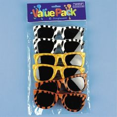 Safari Party Sunglass Party Favors. One package of 6 assorted safari print child size sunglasses. 5