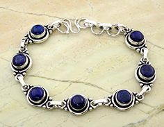 Genuine Lapis-Lazuli 925 Sterling Silver Overlay Handmade Fashion Bracelet � Jewelry from Selena