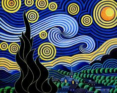 After Van Gogh - Starry Night by Bruce Bodden (Painting - Glow In The Dark Acrylic On Canvas)